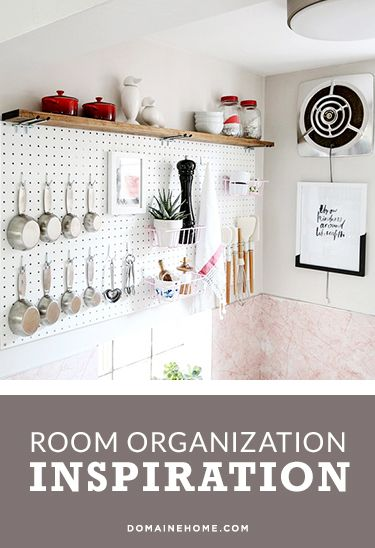 #MYDOMAINE: Beautiful Organization From 15 Readers | DomaineHome.com // Gorgeous pegboard storage in kitchen.