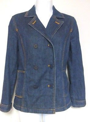 Liz Claiborne Women's Jean Jacket Blue Denim Nautical Coat Stretch Size Small