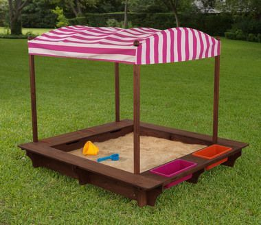 Kidkraft Outdoor Sandbox with Canopy - Pink & White