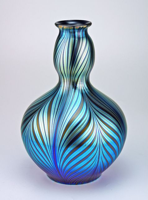 Loetz Phänomen Genre 7501 art glass vase aqua turquoise teal