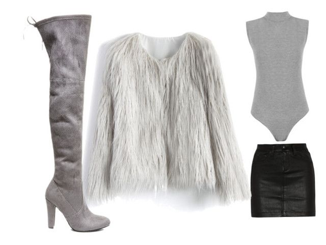 Furry coat evening outfit by genyapol on Polyvore featuring polyvore fashion style Chicwish WearAll rag & bone/JEAN Steve Madden clothing