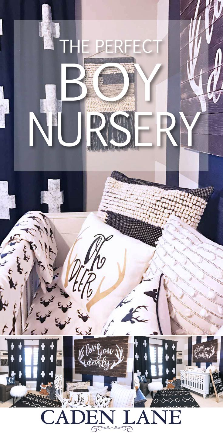 This eclectic woodland nursery might just inspire your baby boy's room with plaid, deer heads, amazing black, white and navy accents!