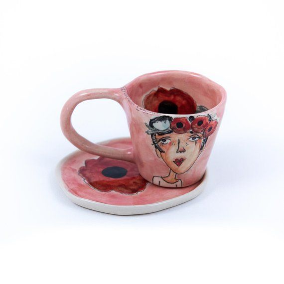 Cute Ceramic Espresso Cup Customizable 100 Handmade And Hand Painted Coffee Cup Cute And Unique Gift Idea For Women On All Occasions Cute Gifts For Girlfriend Ceramics Pottery Art Painted Coffee Cup
