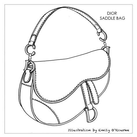DIOR - SADDLE BAG - Designer Handbag Illustration / Sketch / Drawing / CAD / Borsa Disegno