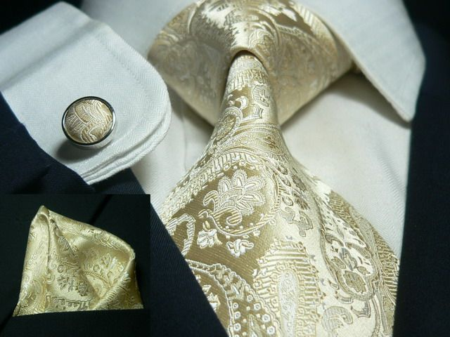 Bacrelli Gold Silk Tie, pocket square and cufflinks