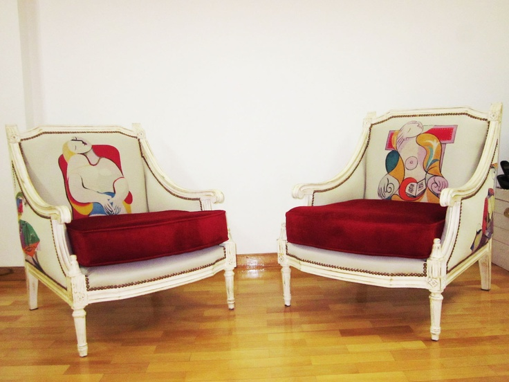 Sillones luis xv creaci n estampares tapizados originales picasso tapicer a con telas de - Tela de tapiceria para sillones ...