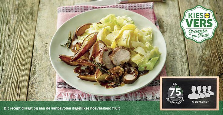 Recept voor Varkenshaas met geroosterde peer en gesmoorde spitskool #Lidl #Peer