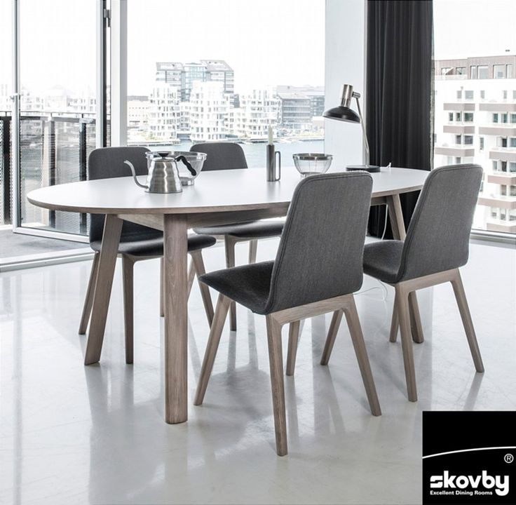 Contemporary Extending Dining Table Oak Veneer With The Option Of A White  Laminate Table Top Perfectly Complemented By A Set Of Skovby SM92 Dining  Chairs ...