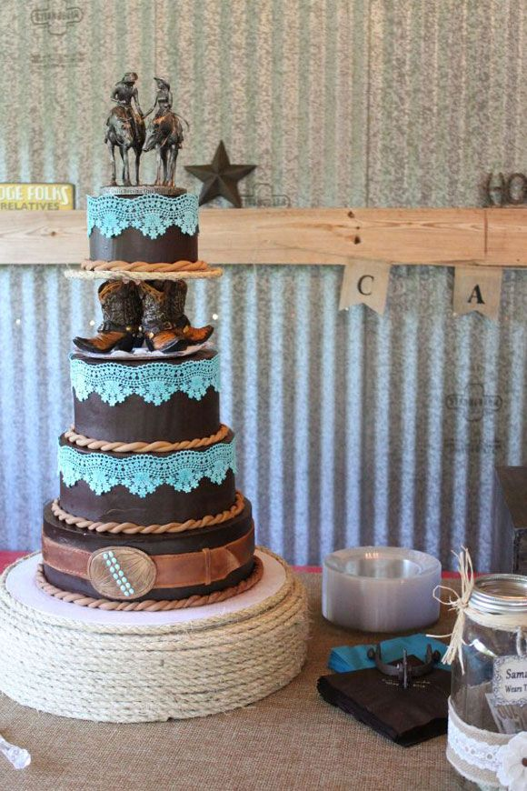 Brown and turquoise wedding cake