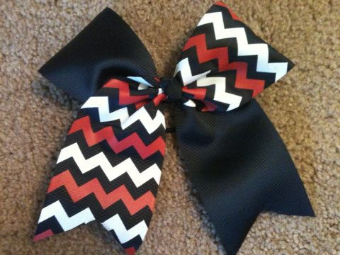 Big 3 Tick Tock Cheer Bow Black Red White by KeelieCakesBows, $5.00