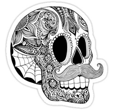 Mustache Sugar Skull Black amp White Sticker