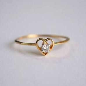 Herz-Diamant-Ring. Baby-Diamant-Verlobungsring. Zierliche Herz Ring. 14K Gold. Stapelbare Ehering. Jahrestag Promise Ring