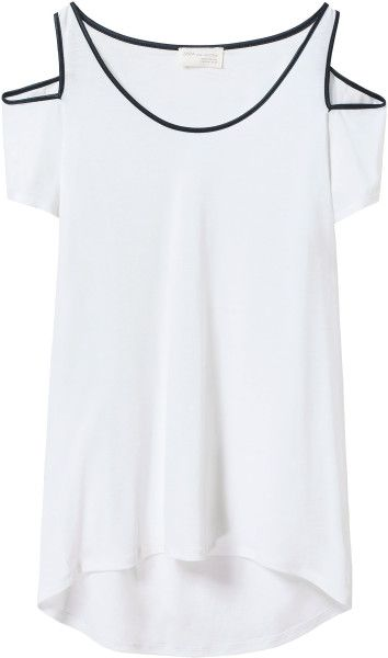 Zara Tshirt with Cutouts On Shoulders in White - Lyst