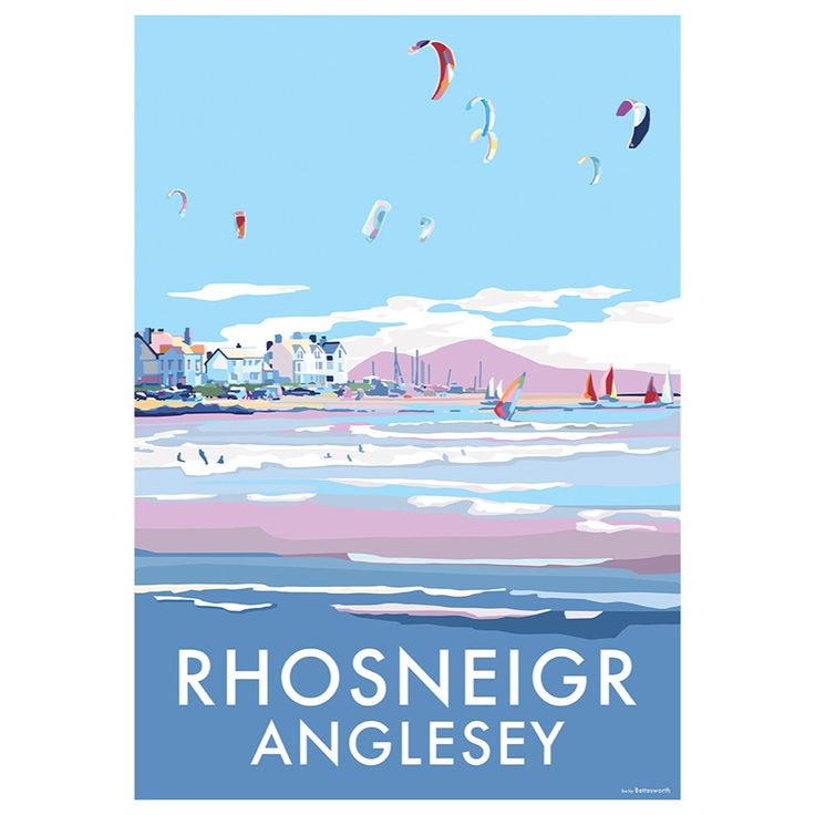 Rhosneigr is available to buy at www.beckybettesworth.co.uk #devonartist #seasideprints #travelposters #vintage #rhosneigr #anglesey #holyheadmountain #Llangefni #wales #northwales