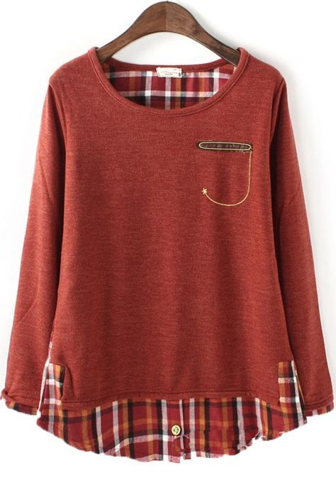 Orange Patchwork Round Neck Loose Cotton Blend T-Shirt - this is off-the-rack, but what a cool way to lengthen a too-short top!
