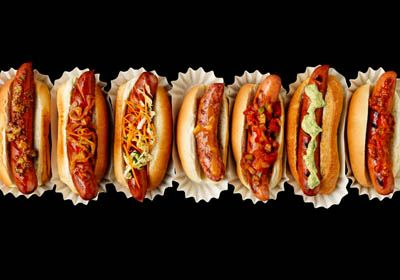 Hot Dogs - 7 kinds of ways to do the works! Shot by Jim Norton