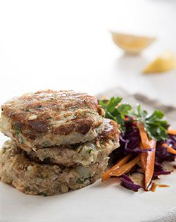 FISH CAKES WITH  DRESSING & SALAD - Lunch as part of the Checkers 5-day diabetic meal plan.