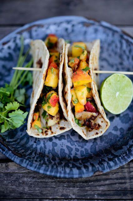 Chipotle Fish Tacos with Cilantro Peach Salsa