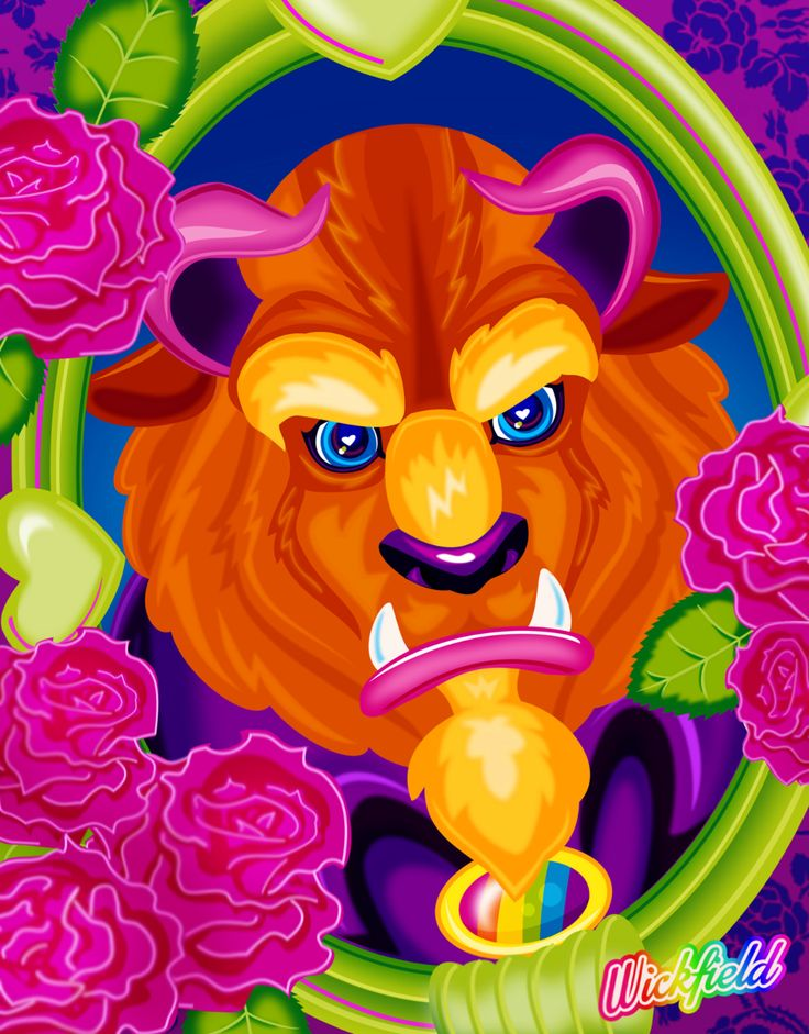 dust-in-my-eyes:  Another entry for the Disney-Club coloring book contest on DeviantArt.  I colored this page of the Beast to look like Lisa Frank - because nothing looks better in neon rainbow than a cursed prince, amirite?