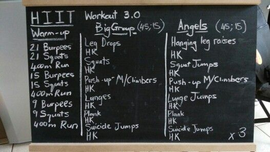 High Intensity Interval Training, HK stands for high knees. 45 sec work, 15 sec rest, alternate the HK with Jumping Jacks