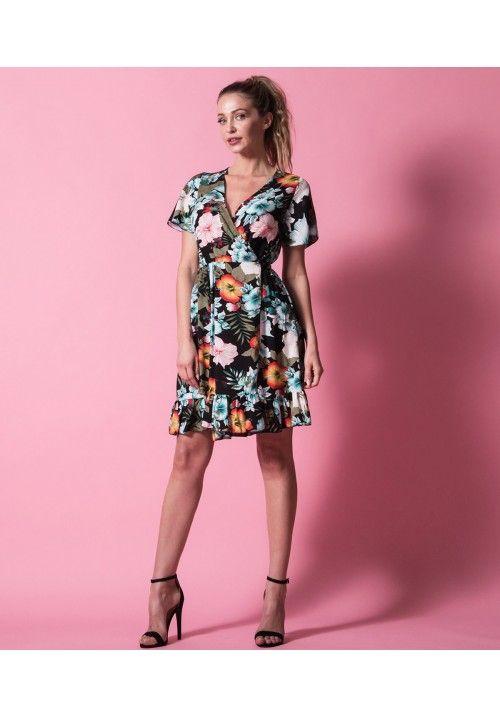 Μίνι Κρουαζέ Φόρεμα με Βολάν - Εμπριμέ Φλοράλ - Μαύρο  aefd3b7438f