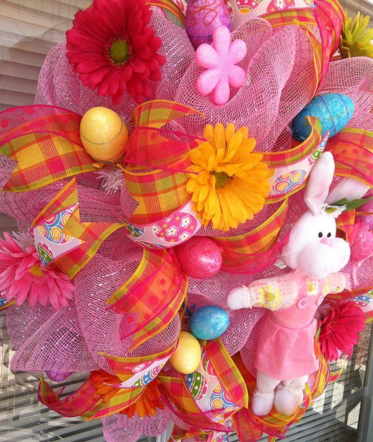 Pink bunny deco mesh Easter wreath