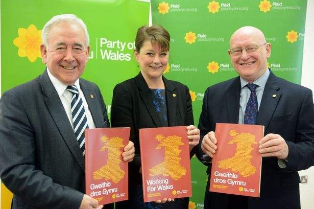 Lord Dafydd Wigley, Plaid Cymru leader Leanne Wood and Hywel Williams Plaid Cymru candidate in Arfon at the manifesto launch