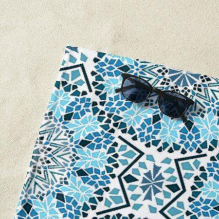 Blue Moroccan Mosaic Beach Towel - #beach #towel #beachtowel #beachlife #mosaic #tiles #blue #aqua #modern #chic #moroccan