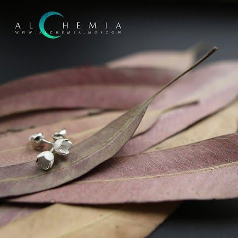 The Spring earrings. Silver, satin cover. Handmade by Alchemia Jewellery.