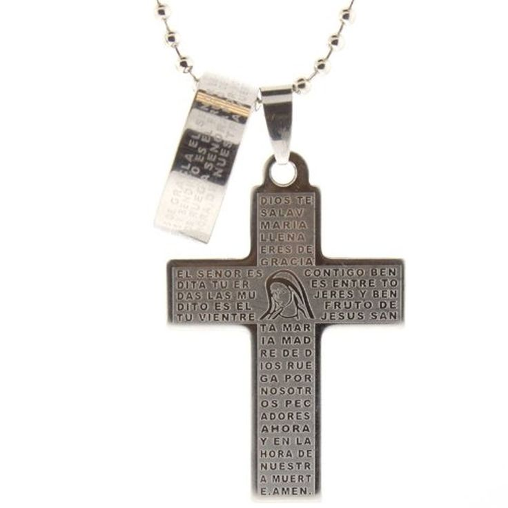 Stainless Steel Cross Pendant with the Ave Maria (Hail Mary) Prayer in Spanish - 40mm Heigth - 23 Inch Ball Chain - Matching Ring Included