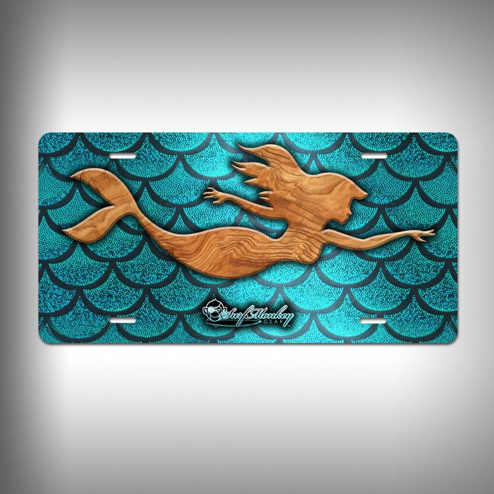 Mermaid Trophy License Plate / Vanity Plate With Custom Text And Graphics  Aluminum
