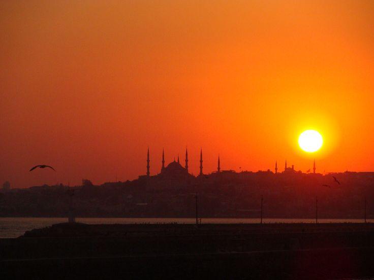 Sonnenuntergang mit Blauer Moschee