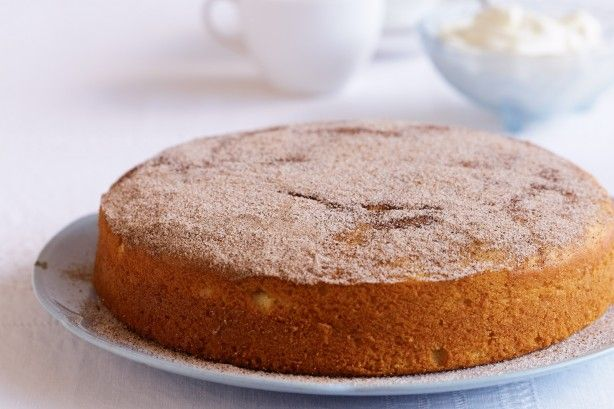 This moist tea cake has a spicy sugar surprise on the top.