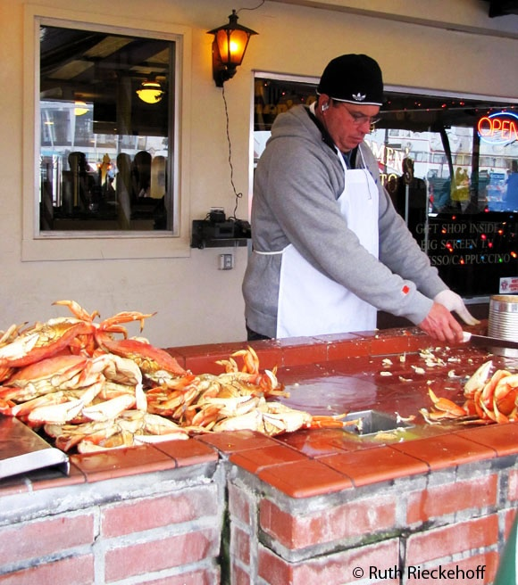 Removing meat from crabs, Fisherman's Wharf, San Francisco, California: Vacations Spotsth