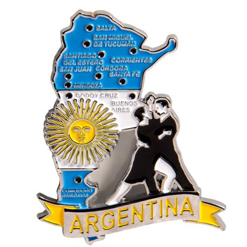 Metal Fridge Magnet: Argentina. Map of Argentina (Chrome Plating and Enamel)