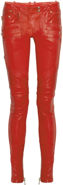 BLAMAIN   Quilted Panel Leather Skinny Pants