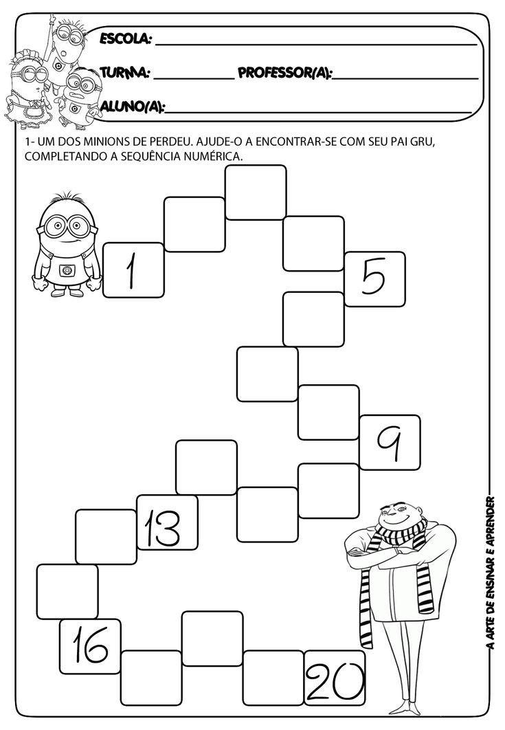 Atividade de sequência numérica com temática - dia dos pais
