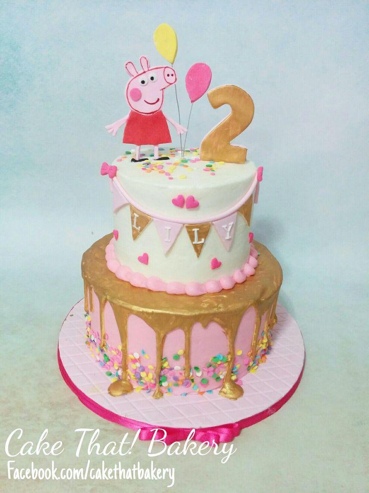 pink and gold Peppa pig birthday cake