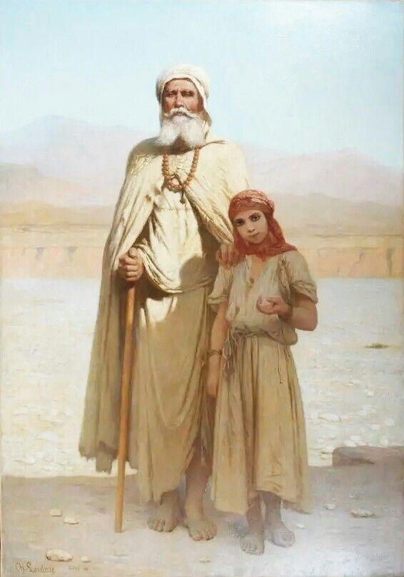 Algérie - Peintre Français Charles Zacharie Landelle (1821-1908), huile sur toile ,Titre : L'aveugle de Biskra