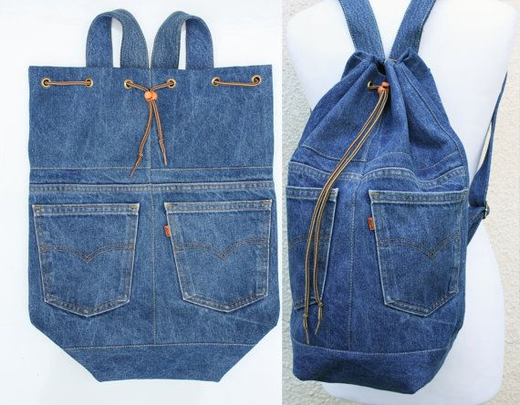 denim backpack upcycled blue jeans drawstring by UpcycledDenimShop