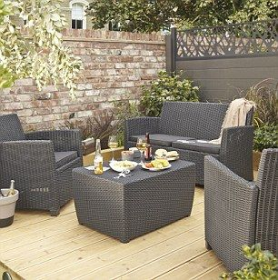 TheElsa rattan effect four seater coffee set, £249, is the perfect spot to sip your morning coffee