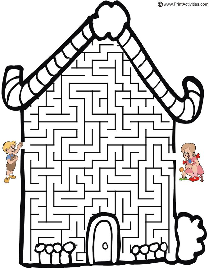 Hansel and Gretel Maze: Guide Hansel thru the candy cottage to find Gretel