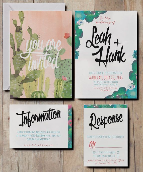 Floral Watercolour Wedding Invitations Cactus By KatieBarnesStudio