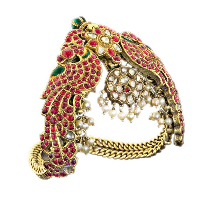 Ganjam 'vanki' (armlet) from the family archives of the Heritage collection, set with uncut diamonds, rubies, emeralds and pearls.