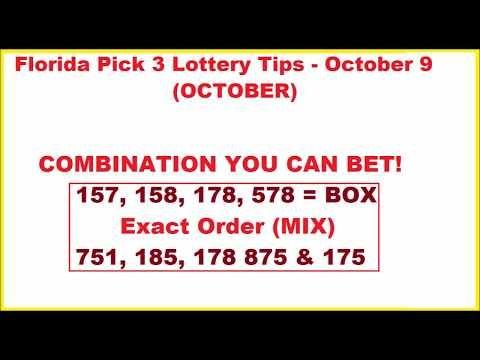 Florida Pick 3 Lottery Winning Tips - October 9, 2017 - (More info on: https://1-W-W.COM/lottery/florida-pick-3-lottery-winning-tips-october-9-2017/)
