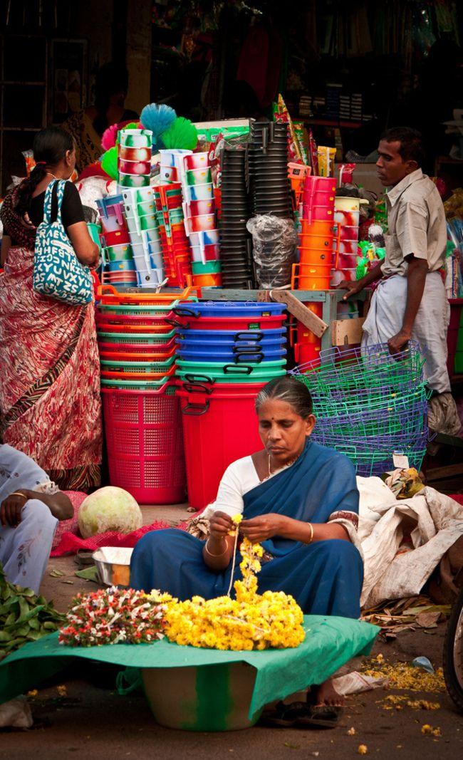 INDIA: Stringing Marigolds - Chennai