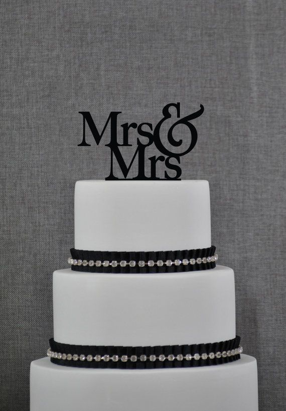Mrs and Mrs Same Sex Wedding Cake Topper by by ChicagoFactory, $15.00