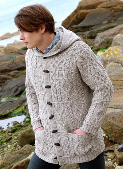 Knitting Patterns For Men s Hooded Sweaters : Aran Hooded Coat by Natallia Kulikouskaya for Aran Crafts ...