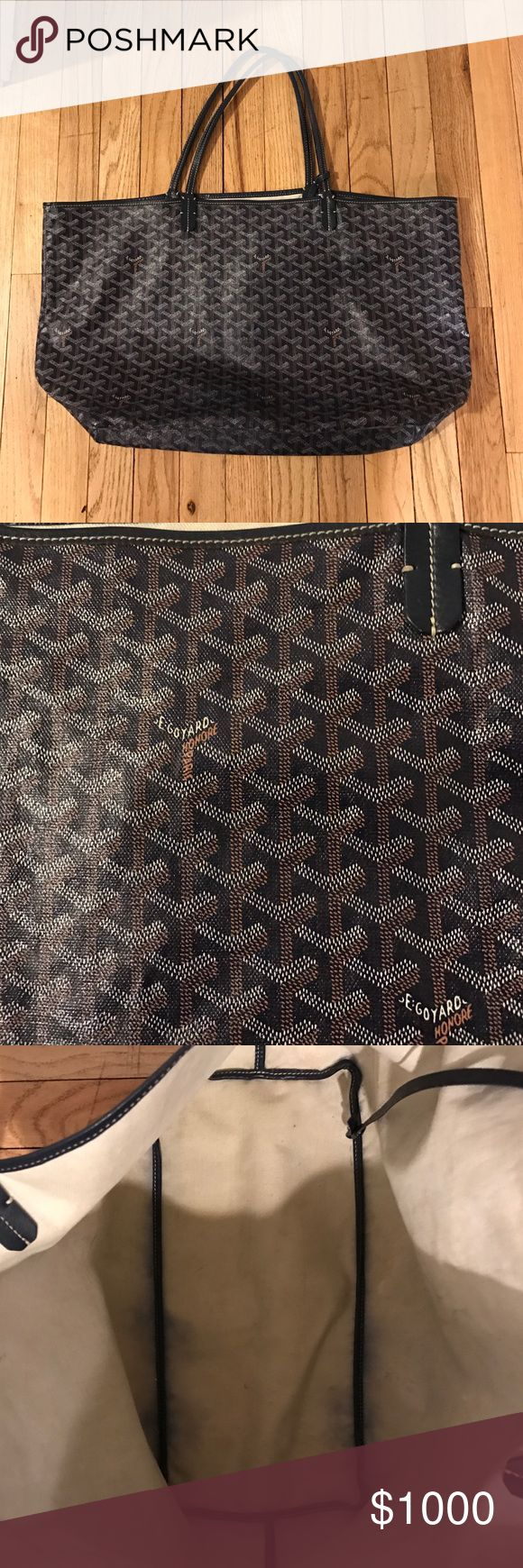Authentic Goyard Saint Louis Navy. Size GM Reposhing and already authenticated!! Love this bag but I'm really looking for the smaller pm size. A blend of luxury and casual chic. Signs of wear but still in great shape. Corners are scuffed and minor wear on one handle. I love this bag but for the price, I should be using it more than I do. Timeless, everyday bag. Pouch not included FYI Goyard Bags