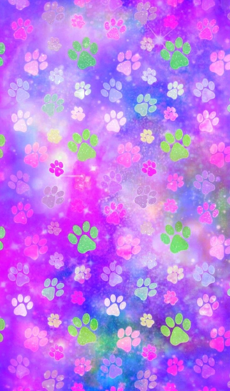 Galaxy Pawprints Made By Me Pawprints Purple Bright